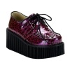CREEPER-208 Faux Leatherrple Cheetah Glitter